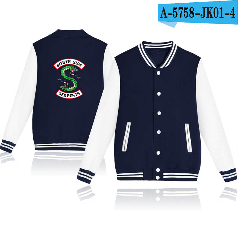 Riverdale Sweatshit Women 2018 Kpop Jacket Zip-up Baseball Riverdale Unisex Uniform Long Sleeve Coat Korean Girl Boy Sweatshirts