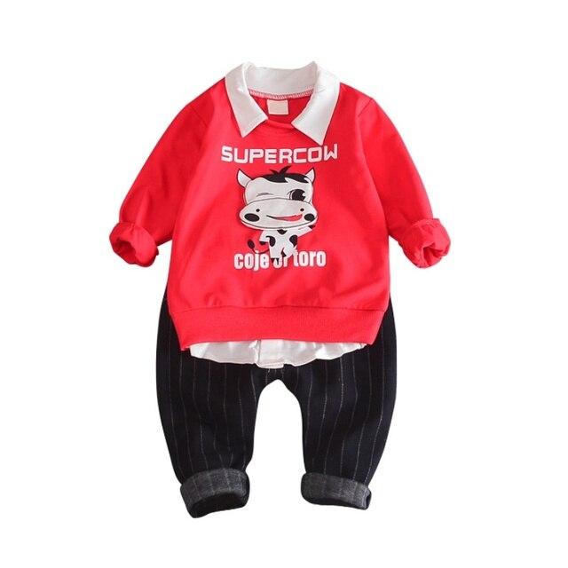 9b6a09a0e Baby Boy Clothes Set Autumn Spring Long Sleeve Cow Print Soft Cotton ...