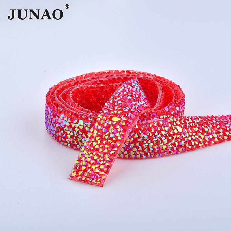 JUNAO 5 Yard*15mm Red AB Hotfix Rhinestones Chain Bridal Beads Applique Trim Resin Crystal Strass Banding Mesh For Wedding Dress