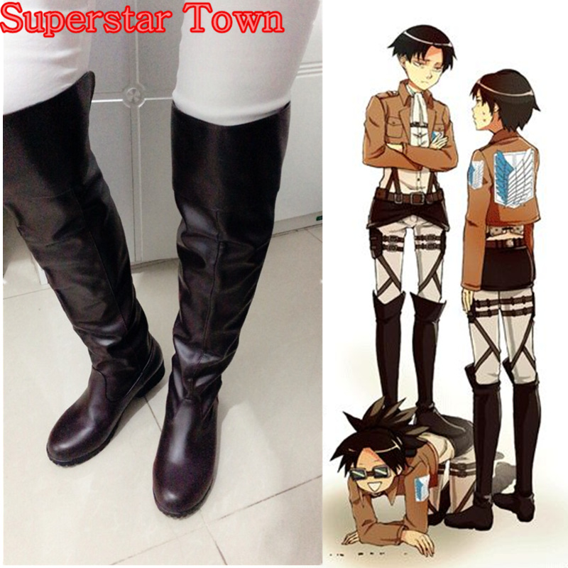 Attack On Titan Cosplay Boots Bota Shingeki No Kyojin Eren Jaeger Levi Mikasa Ackerman Knee Length Costumes Japan Anime Shoes