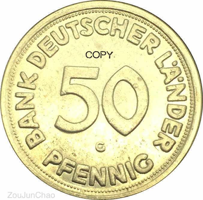 Đức Liên Bang Cộng Hòa 1950 G 50 Pfennig Bằng Đồng Mạ Niken Chép Đồng Tiền
