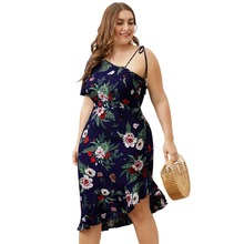 2019 Summer Elastic flower print beach dress women Sexy Spaghetti strap  dress Lady ruffles belt dress Plus size butterfly print spaghetti strap plus size flare dress