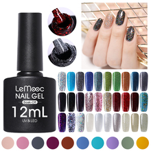 LEMOOC 12ml Glitter Sequins Gel Nail Polish Shimmer Purple Red Silver Colors Soak Off UV Varnish DIY Art