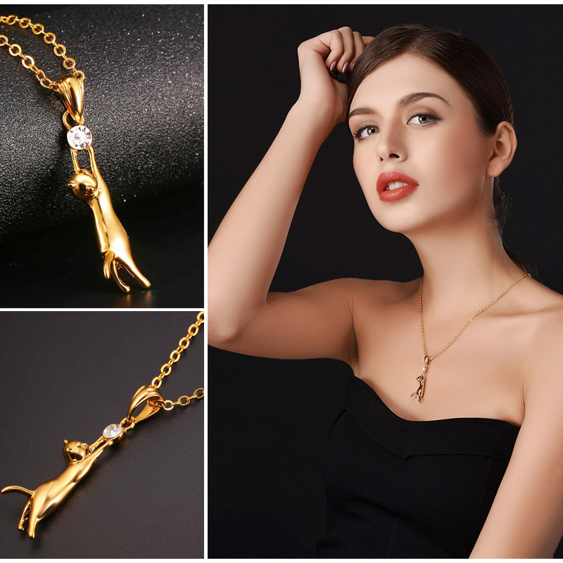 U7 Cute Cat Necklace & Pendant For Women Gift Silver/Gold Color Wholesale Trendy Rhinestone Animal Pet Charm Jewelry Hot P379