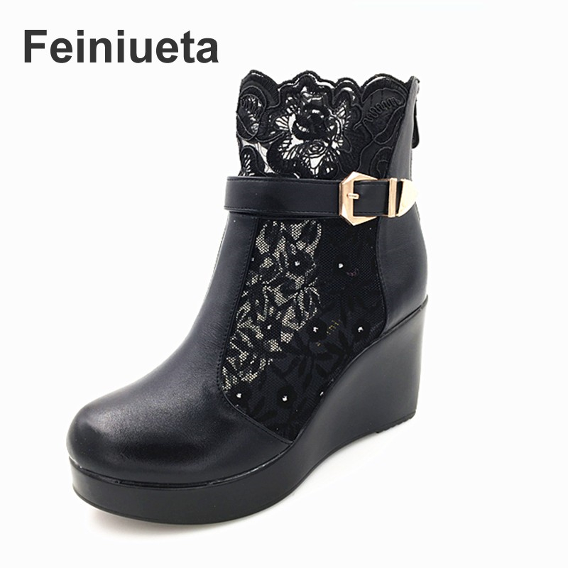 Feiniueta spring and autumn new leather net boots with high heel and ankle boots single shoes leather shoes hollow women's shoes 2014 new autumn and winter children s shoes ankle boots leather single boots bow princess boys and girls shoes y 451