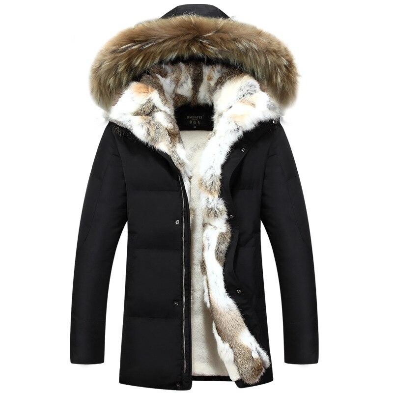 Winter Men's Duck Down Jackets Coats Real Rabbit Fur Men Women ...