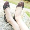 2015 женская обувь пляж плоским птичье гнездо отверстие обувь пластиковые кристалл желе обувь вырез цветок сетки сандалии