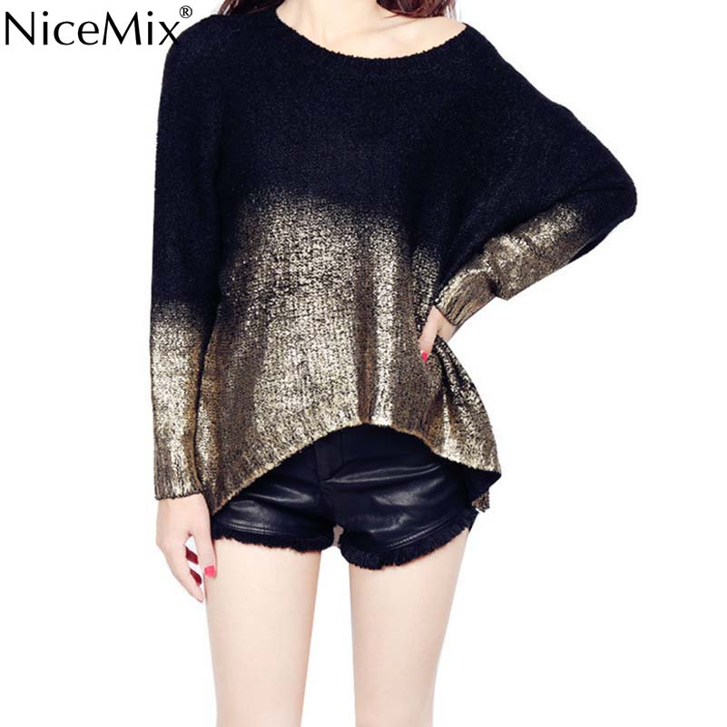 NiceMix 2016 Winter Sweater Women Pullovers Casual Bronzing Gradient Asymmetry Knitted Sweaters Pull Femme