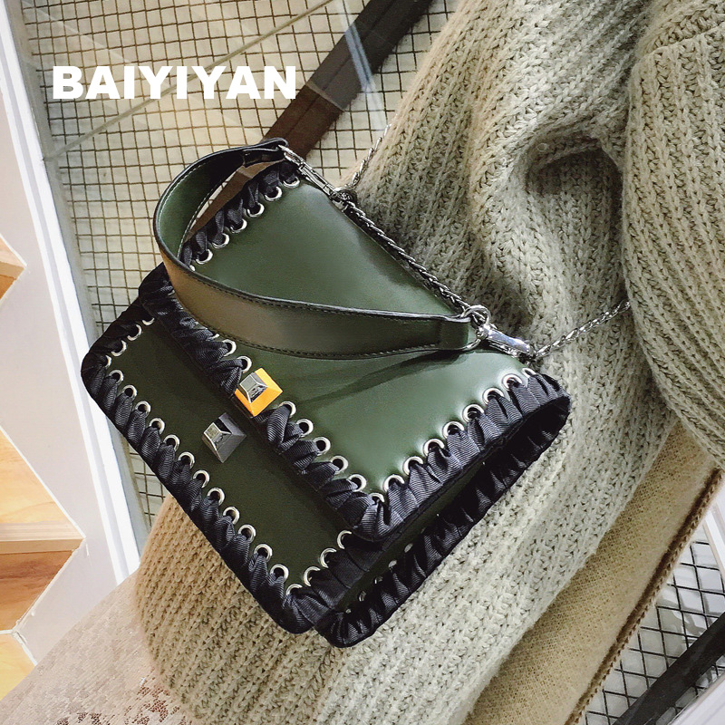 2017 New Arrival Women's Handbag Vintage Knitted Chain Shoulder Bag Fashion Cross-Body PU Leather clutch bag