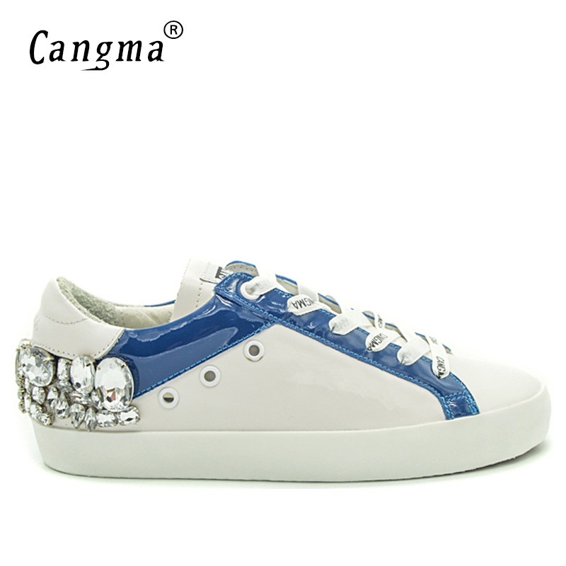 CANGMA Men Sneakers Brand Rhinestone Shoes Genuine Leathe Lace Up Hip Hop Shoes Breathable Footwear Large