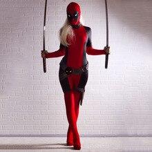 Deadpool traje de cosplay para las mujeres red Full Body Navidad cos Accesorios de Halloween de Halloween para Las Mujeres