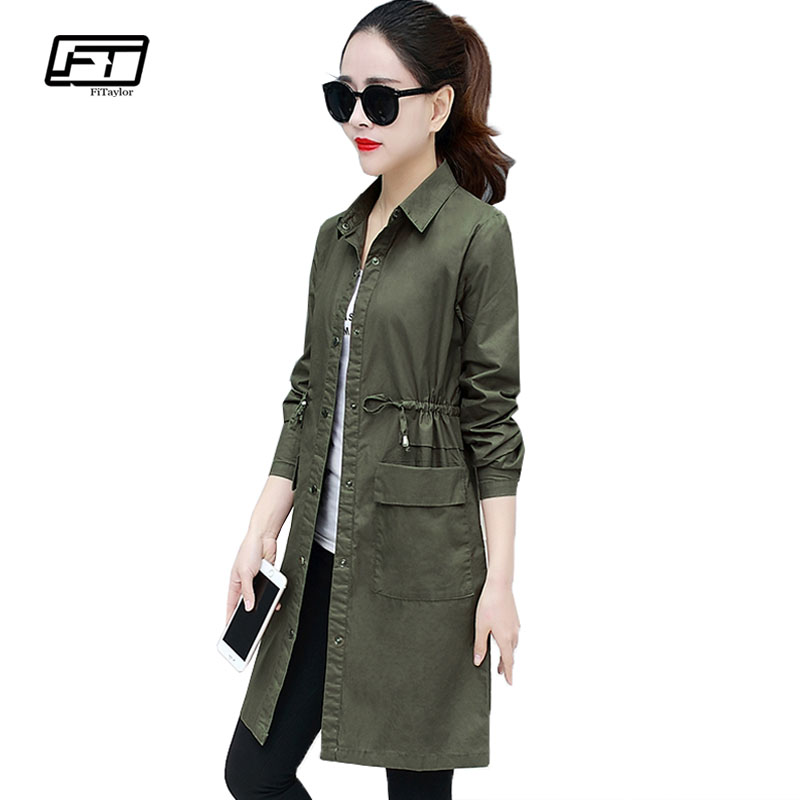 Fitaylor Army Green Bomber Jacket Autumn Women Military Windbreaker Coat Female Sash Tie Up Pockets Button Slim Outwear