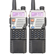 2PCS Walkie Talkie Pair UV-5RE with Long Battery Dual Band 136-174/400-520MHZ Interphone Portable Transceiver Free Earphone