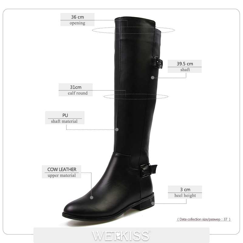 7ffe274b201 WETKISS High Quality Genuine Leather pu Knee High Boots Women Buckle ...