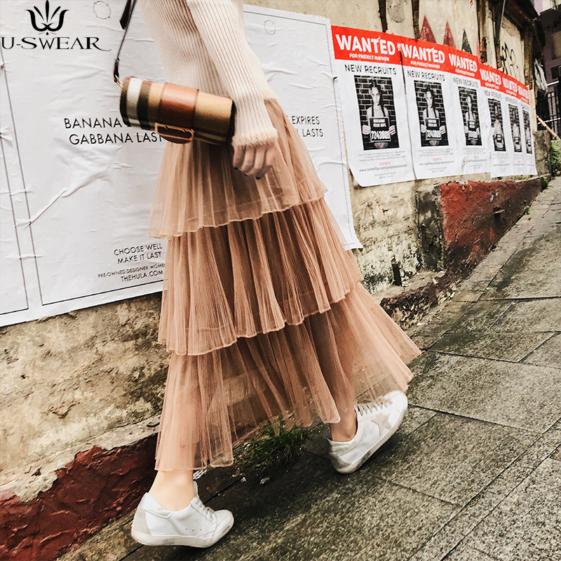 U SWEAR 2018 spring new sweet high quality brand beauty net yarn pleated cake skirt wild solid color high waist women skirt