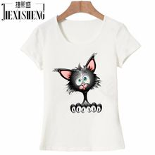 2017 Women t shirt fashion summer cotton Short sleeve t-shirt Cartoon Tom cat Printed Brand tops HH252