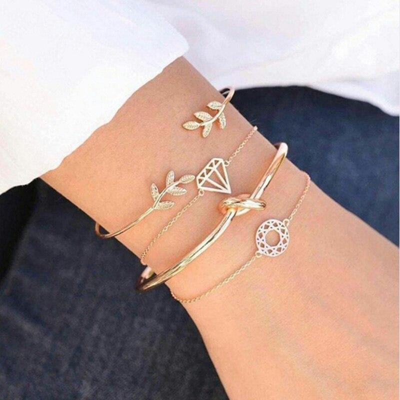 2020 boho ouro manguito pulseiras conjunto para as folhas femininas nó charme delicado cadeias festa de casamento jóias acessórios