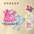 Nueva llegada 2016 moda infantil del bebé ropa del verano de 2 unids girls de las camisetas + pantalones traje deportivo niñas bebés traje bebes