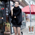 2016 Luxury Genuine Real Knitted Mink Fur Pullovers Batwing Sleeve Autumn Winter Women Fur Outerwear Coats Lady Poncho 0551