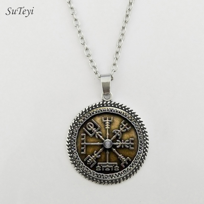 SUTEYI Classic Viking Pattern Necklace 25mm Glass Cabochon Necklaces Fashion Crystal Pendants Best Gift For Men DIY Jewellery
