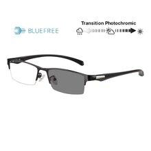 Transição photochromic anti azul ray computador óculos de leitura templos flexíveis miopia hyperopia uv400 óculos de sol personalizado stregth