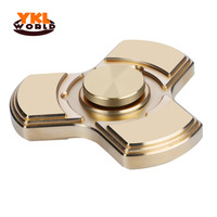 YKLWorld New Full Brass Tri Spinners Fast Spinning Copper Fidgets Toy EDC Finger Spinner For Autism