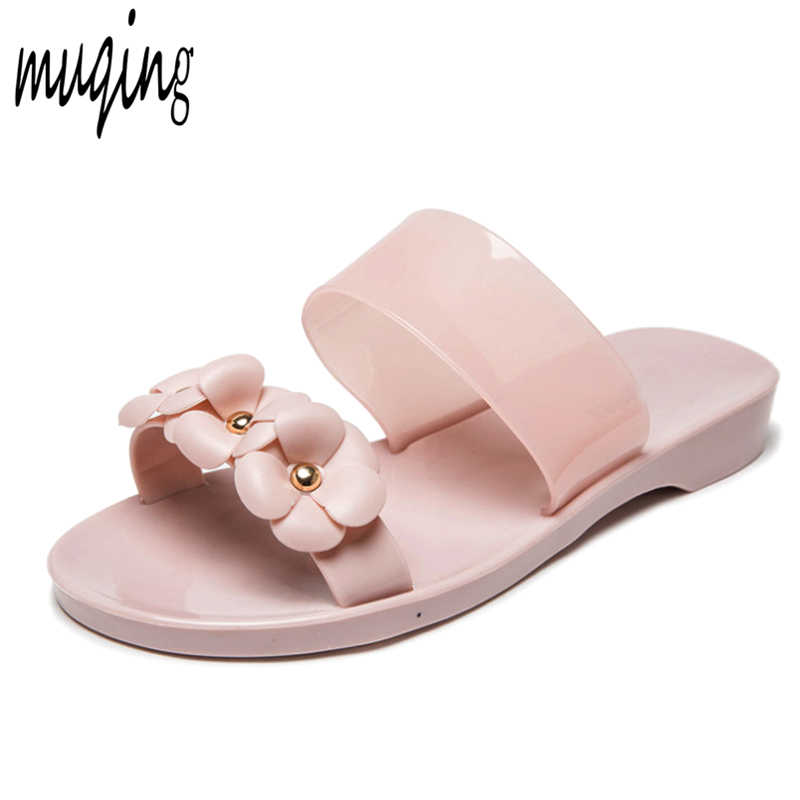 27f2c63f5 Womens Girls Summer Jelly Shoes Beach Hot Sandals Slippers Flip Flops Flat  Plastic Flowers Band Casual