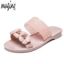 Womens Girls Summer Jelly Shoes Beach Hot Sandals Slippers Flip Flops Flat  Plastic Flowers Band Casual a8e584379a7f