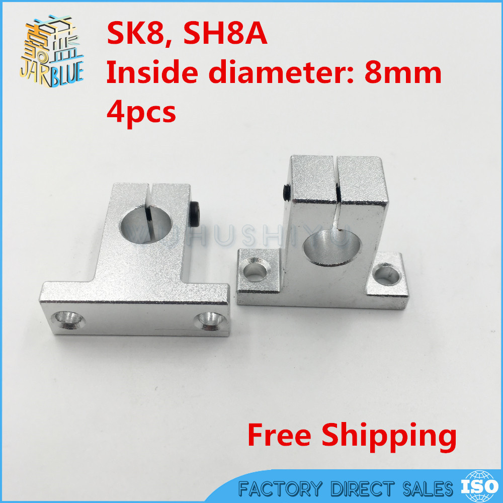 4 pcs/lot SK8 SH8A 8mm linear shaft support 8mm Linear Rail Shaft Support CNC parts ves sk a 4