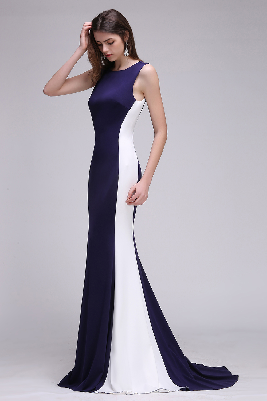 Robe de Soirée Longue O Cuello Azul Marino y Blanco Sirena