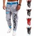 4xl Плюс размер брюки моды для мужчин дизайнер мешковатые Шнурок хип-хоп тренировочные брюки мужчины письмо печатных случайные штаны М-2XL D020