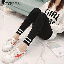 ZYFPGS 2019 Autumn Leggings Slim Sexy Plus Size Double Line Fitness Cotton 5XL Elasticity Womans Pants Fashion Z0806