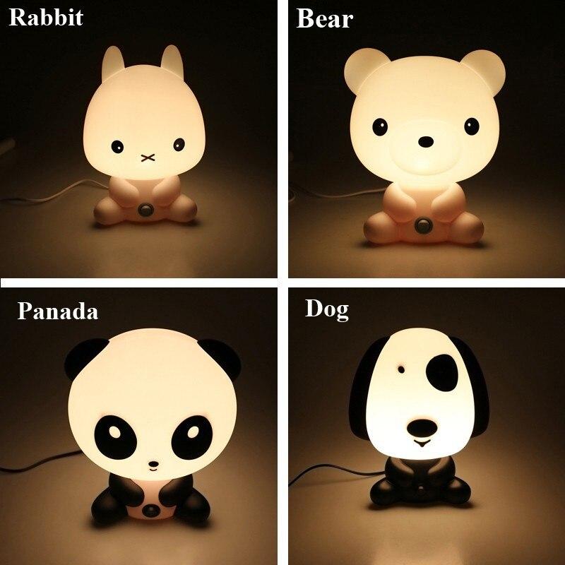 חידוש פלסטיק PVC תינוק פנדה ארנב חיות Cartoon ילדים לישון לילה אור מנורות חדר שינה מנורת הנורה מנורת הלילה לילדים T0.2