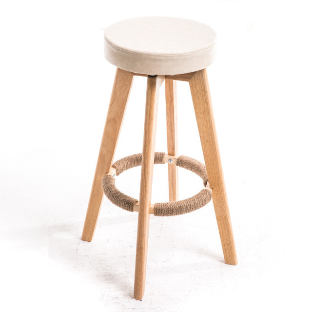 Modern Nordic Wooden Swivel Bar Stools Round Leather Seat Indoor Commercial Kitchen Furniture Stool Chair 73