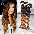 7A Peruvian Virgin Hair Loose Wave 2 Tone Ombre Loose Curly Hair 1b 30 Ombre Hair Loose Curly Weave Wet And Wavy Human Hair