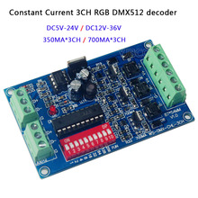 DC5V-24V/DC12V-36V Constant Current RGB led dimmer 700ma*3CH/350ma*3CH DMX512 decoder controller For LED lamp strip