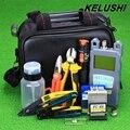 KELUSHI 20 EM 1 Kit de Ferramentas De Fibra Óptica FTTH de Fibra com Fibra Cleaver-70 ~ + 10dbm Medidor de Potência Óptica 10 km localizador Visual de Falhas Lcator