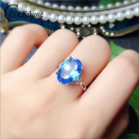 CoLife Jewelry Large Gemstone Ring for Party 10ct Natural Topaz Ring 925 Silver Topaz Jewelry Fashion Topaz Silver Ring