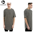 Mens long tyga hip hop swag striped Short sleeve t shirt extended kanye clothing men oversized tee shirt tshirt homme