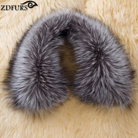 ZDFURS * clothing accessories genuine fox scarves 100% Real sliver fox fur collar square ZDC 163013