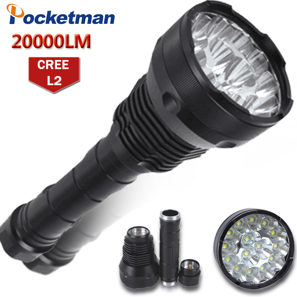 20000 Lumens LED Flashlight 15 x CREE XM-T6 LED 5 Modes Waterproof Super Bright LED Torch Flashlight  Linterna Lampe Torche Lamp 18000 lumens 15 x cree xm l2 led 5 light modes waterproof super bright flashlight torch with 1200m lighting distance