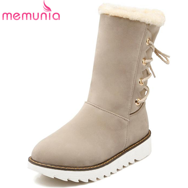 MEMUNIA 2017 Unique fashion ankle boots in winter women boots platform shoes warm slip-resistant big size 34-43 party