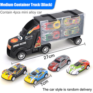 Image 5 - 1/24 Scale Storage Container Truck Plastic Vehicles Toys With Diecast Mini Car Hot Alloy Auto Wheels Magic Tracks Cars For Kids