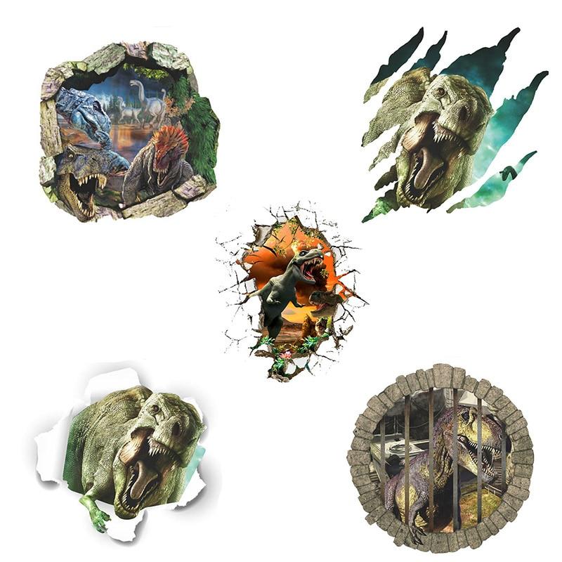 10 տիպեր 3D մուլտեր Dinosaur Vinyl Art Home Wall Sticker - Տնային դեկոր - Լուսանկար 2