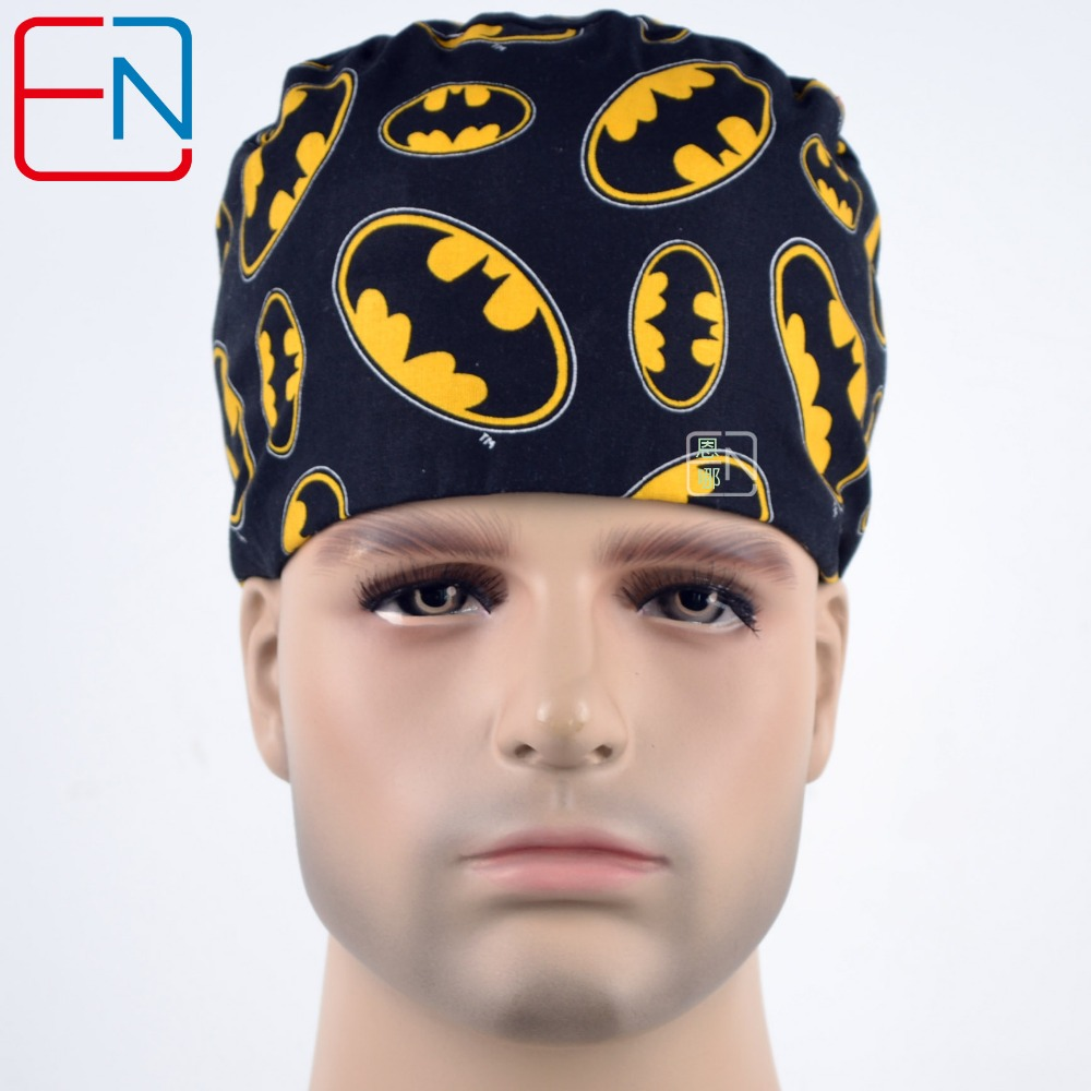 Hennar Men's Scrub Caps Hero Printed For Doctor Nurse Working Cap Nask Medical Accessories Natural Cotton Material Surgical Caps