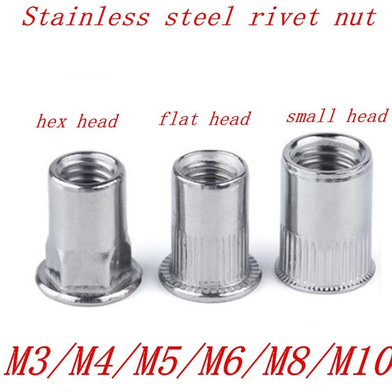 Stainless Steel Rivnut Flat Head Half Hexagon Riveted Nuts Cap Rivet Nut 10PCS