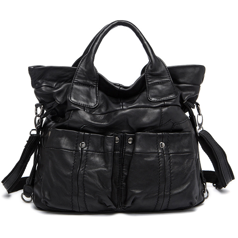 Women bag Genuine Leather bag female patchwork Women leather handbags fashion Large Capacity Top-handle Bags High Quality