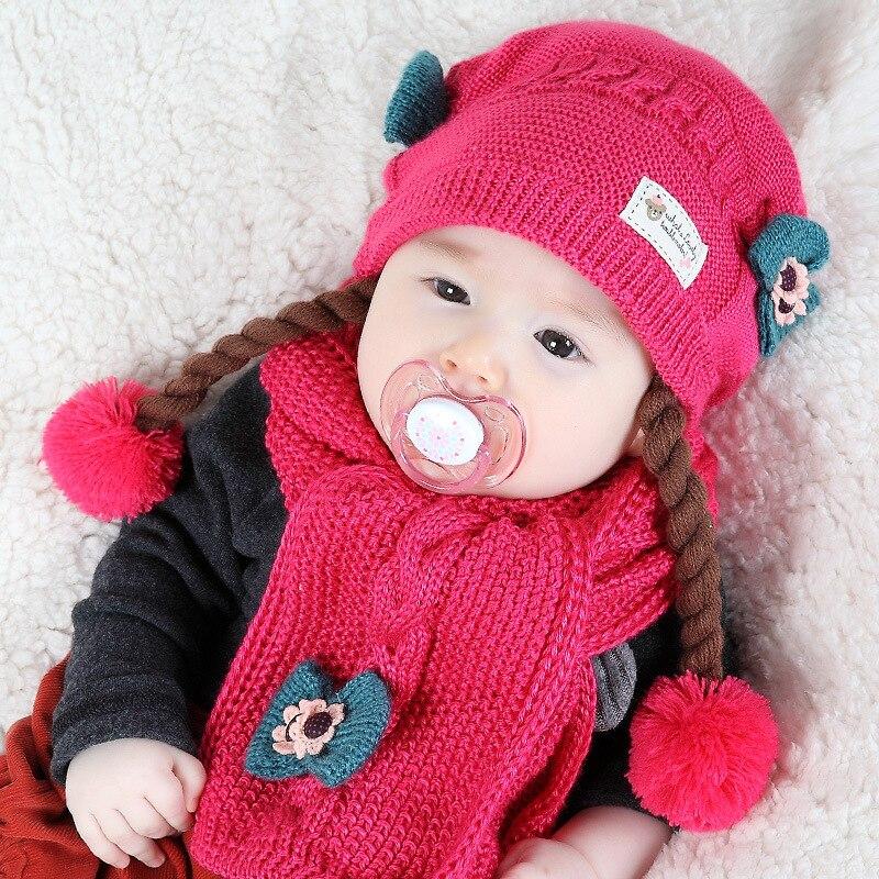 2 Teil/satz Baby Winter Mit Geflecht Hut Schal Für Neue Geboren Bebe. Kind Warme Mütze Und Schal Set Freies Verschiffen