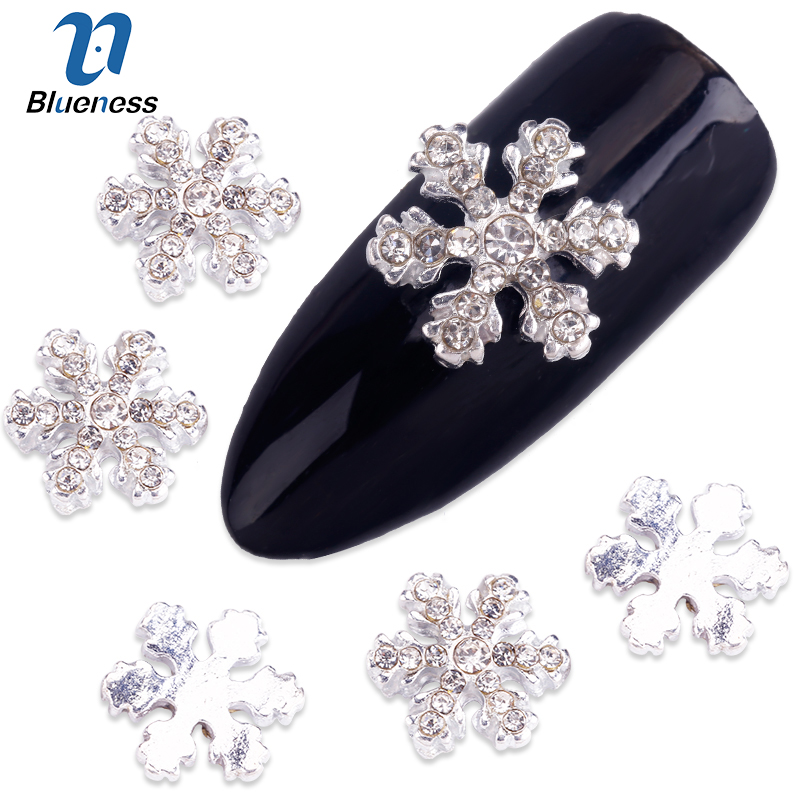 10 Pcs/Lot Crystal Snowflake Nail Art Glitter Silver Alloy Jewelry Manicure Decorations DIY Studs Full Of Rhinestones TN463 10pcs glitter crystal nail gem rhinestones alloy 3d nail art jewelry diy phone case decoration mns784
