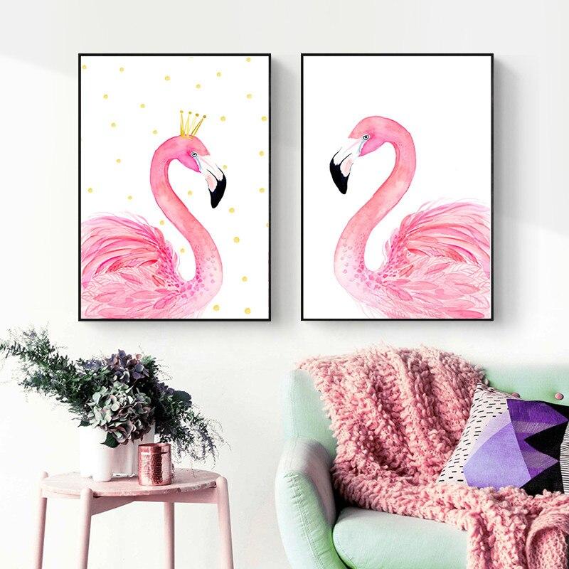 Watercolor Pink Canvas Art Print Poster, Animal Wall